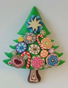 Millefiori BILLIE BEADS Christmas Tree Pin Hand Sculpted Polymer Clay 2003 C1