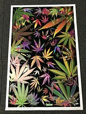 Vintage NOS Blacklight Poster 3308 Midnight Leaves Trippy Stoner Weed Smoke Vibe