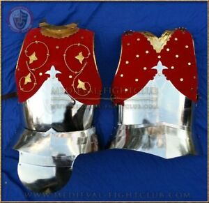Medieval Warrior Steel Royal Cuirass / Breastplate and faulds Leather Padded