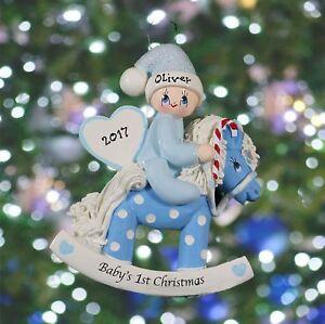 Personalised Baby's 1st Christmas Decoration - Baby Boy & Girl Rocking Horses