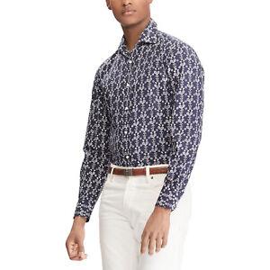 Ralph Lauren Purple Label Vintage Tennis Raquet Print Dress Shirt New $495