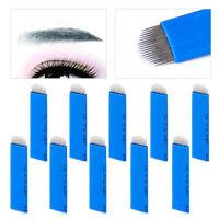 10X Klingen 18-Nadeln Augenbraue Tattoo Permanent Microblading Blades Neu 0.2mm