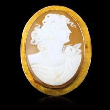 10k Yellow Gold Larhe Cameo Bust Brooch Pendant Lot 450
