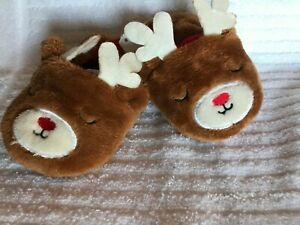 NEW~ Baby Christmas Reindeer Slippers ~ Size 4
