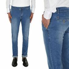 Jeans Uomo Slim Fit Blu Denim Pantalone Casual Tasca America Cotone VEQUE