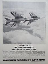 6/1962 PUB HAWKER SIDDELEY FOLLAND GNAT TRAINER BRISTOL ORPHEUS 101 ORIGINAL  AD