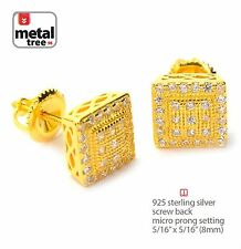 Hip Hop 925 Silver 14k Gold Plated 3D Domed Square Screw Back Stud Earring 463G