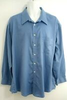 Men's Joseph & Feiss 18 1/2 34/35 Cotton Long Sleeve Button Front Shirt Blue