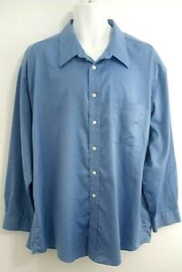 Men's Joseph & Feiss 18 1/2 34/35 Cotton Long Sleeve Button Front Shirt Blue