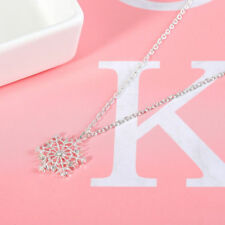 Korean Silver Plated Frozen Snowflake Crystal Necklace Pendant Chain X mas Gift