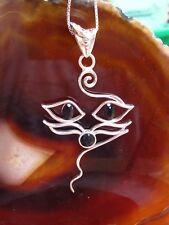 Gato silueta Cara Ojos AUS Ónix Negro Colgante de plata esterlina 925