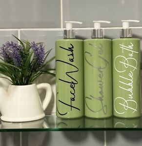 Mrs Hinch Inspired 500ml Sage Green Pump Bottles Set Bathroom Kitchen Shower