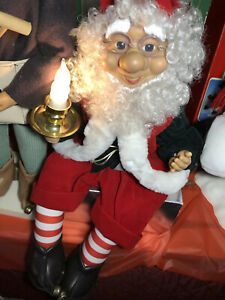 "Vintage 19""Animated Telco Motionettes Christmas Elf Santa's Helper SittingOnGift"