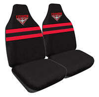 AFL Front Car Seat Covers - Essendon Bombers - Set Of 2 One Size Fits All - BNWT