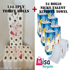 144 Toilet Tissue Rolls 2 Ply 200 Sheet & 24 Roll Nicky Talent Kitchen Towels