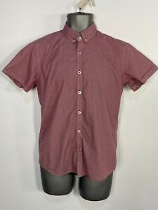 MENS STEEL & JELLY BURGUNDY FLORAL SHORT SLEEVE SMART CASUAL SHIRT TOP SMALL S