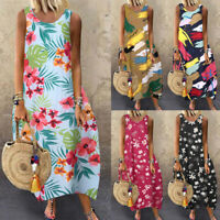 UK Women Summer Beach Sleeveless Cocktail Party Kaftan Long Maxi Dress Plus Size
