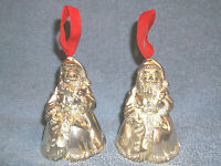 2 - GODINGER SILVER ART SANTA BELL CHRISTMAS ORNAMENTS SILVER PLATE VERY NICE