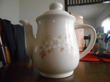 Fleur de Bois Coffee Pot Teapot 48 oz Chantilly Hearthside Stoneware Ivory Peach