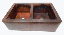 16 Apron Front Farmhouse Kitchen Double Bowl Mexican Copper Sink Flowers 50/50