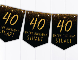 Personalised Gold Effect Happy Birthday Bunting 18th 21st 30th 40th 50th 60th
