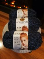 Lion Brand Yarn Hometown USA,  Milwaukee Midnight, 3 Skeins Brand New