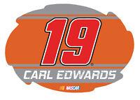 """NASCAR #19 Carl Edwards 5""""x6"""" Swirl w/ Stripe Design Magnet-NEW for 2016!"""