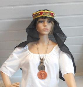 s7) Mittelalter Kopfbedeckung  Gebende Haube Schleier schwarz Baumwolle