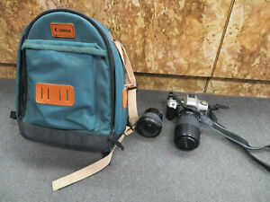Vintage Minolta Maxxum xtsi 35mm Camera With 2 28-300 Lenses/Canon Backpack Bag