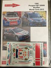 DECALS 1/43 PEUGEOT 207 S2000 BOUFFIER RALLYE MONTE CARLO 2012 RALLY WRC
