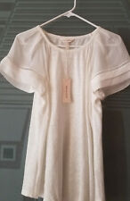 Rebecca Taylor Jersey Crop Top 100 Silk Sleeves Color Snow Size S L
