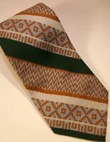 Vintage Memphis Julius Lewis Polyester Tie By Merritt Cravats Orange Green Blue