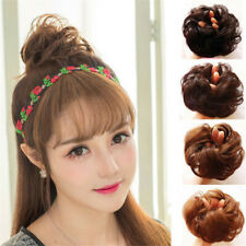 Real Natural Curly Messy Bun Hair Piece Scrunchie 100% Human Hair Extensions