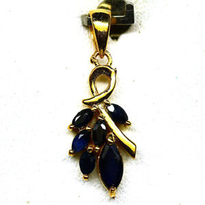 NATURAL BLUE SAPPHIRE PENDANT 925 STERLING SILVER