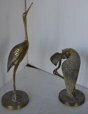 Vintage Brass Crane Pair Bird Stork Heron Figure