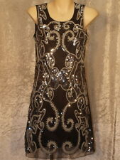 1920's Silver Sequins & Black & White Braid in a Swirly Pattern Dress