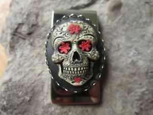MEXICAN SUGAR SKULL HAND PAINTED CAMEO STAINLESS STEEL MONEY CLIP - DAY OF DEAD