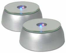 Merchandise Display Base, LED Lighted, Silver, Mirrored Top, Pack of 2