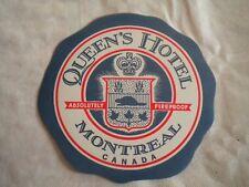 Vintage Luggage label Queens Hotel Montreal Canada 1950s