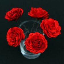 6 Bridal Wedding  Red Rose Flower Hair Pins Clips Grips handmade