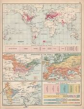 1912 MAP/CHART ~ WHEAT ANNUAL GRANARIES OF THE WORLD CORN IMPRTS UNITED KINGDOM