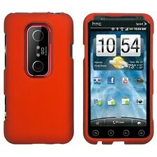 Rubber Orange Hard Case Phone Cover Sprint HTC EVO 3D