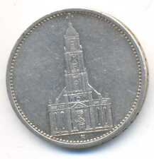 Germany Third Reich Swastika Potsdam Garrison Church Silver 5 RM 1934 A VF