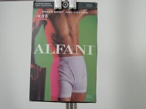 Mens Alfani Boxer Macys Brief Small White New NWT 100% Cotton Underwear Pants