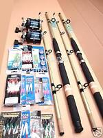 2 X SHAKESPEARE  FISHING BOAT ROD KIT + REEL ALL THE TACKLE INCLUDED