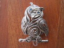 Vintage Modernist OWL BROOCH silver tone Mid Century Modern Costume Jewelry