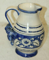 LARGE ANTIQUE WCL PITCHER BLUE AND WHITE  FLOWER  10 1/2'' TALL