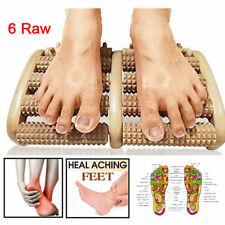 6 Raw Wooden Foot Roller Massager Wood Massage Reflexology Relax Relief Spa Care