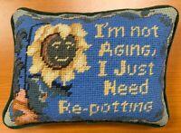 Vintage Small Handmade Needlepoint Cross Stitch Sun Flower Pillow