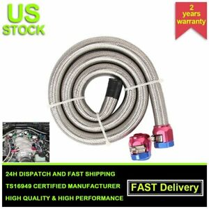 """3 Feet AN6 3/8"""" Stainless Steel Braided Fuel Oil Gas Line Hose Air w/ Clamps in"""